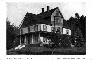 Postcard of Mountain Grove House where Mort, Jennie, Raymond, Will, Elizabeth, Art, and Robbie Austin lived in Eldred. Postcard in the Austin Family Collection.