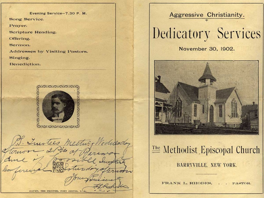 1902 Methodist Dedication Bulletin.