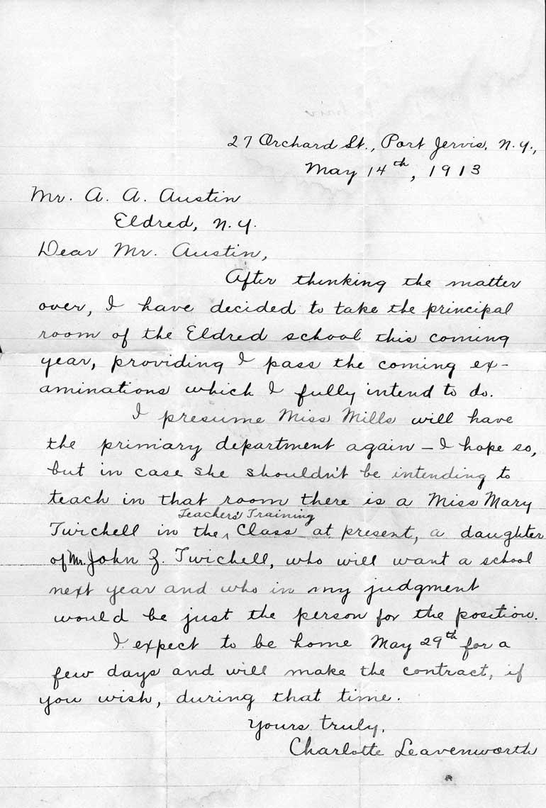 Charlotte's letter to Lon Austin.