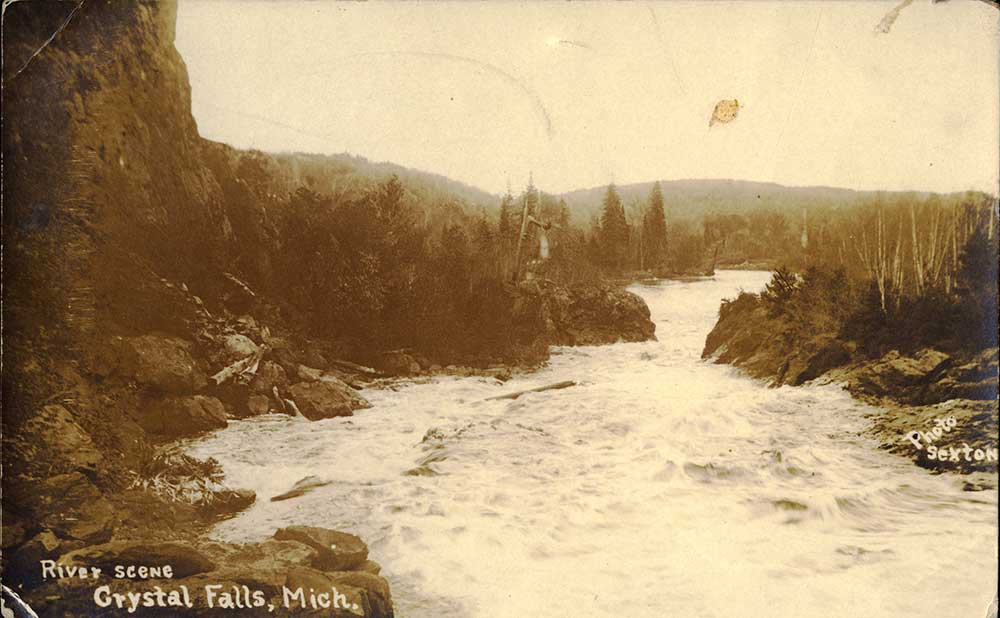 River Scene Crystal Falls, Michigan. Emily Neuberger, February 28, 1918.