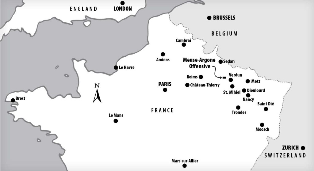 Map of France. Brest is where McKinley's outfit Map of France. Brest is where McKinley's outfit landed. Château-Thierry, Saint Dié, St. Mihiel, Verdun, Cambrai, Sedan, and the Meuse-Argone Offensive are mentioned in Chapter 11. Map: Gary Smith.