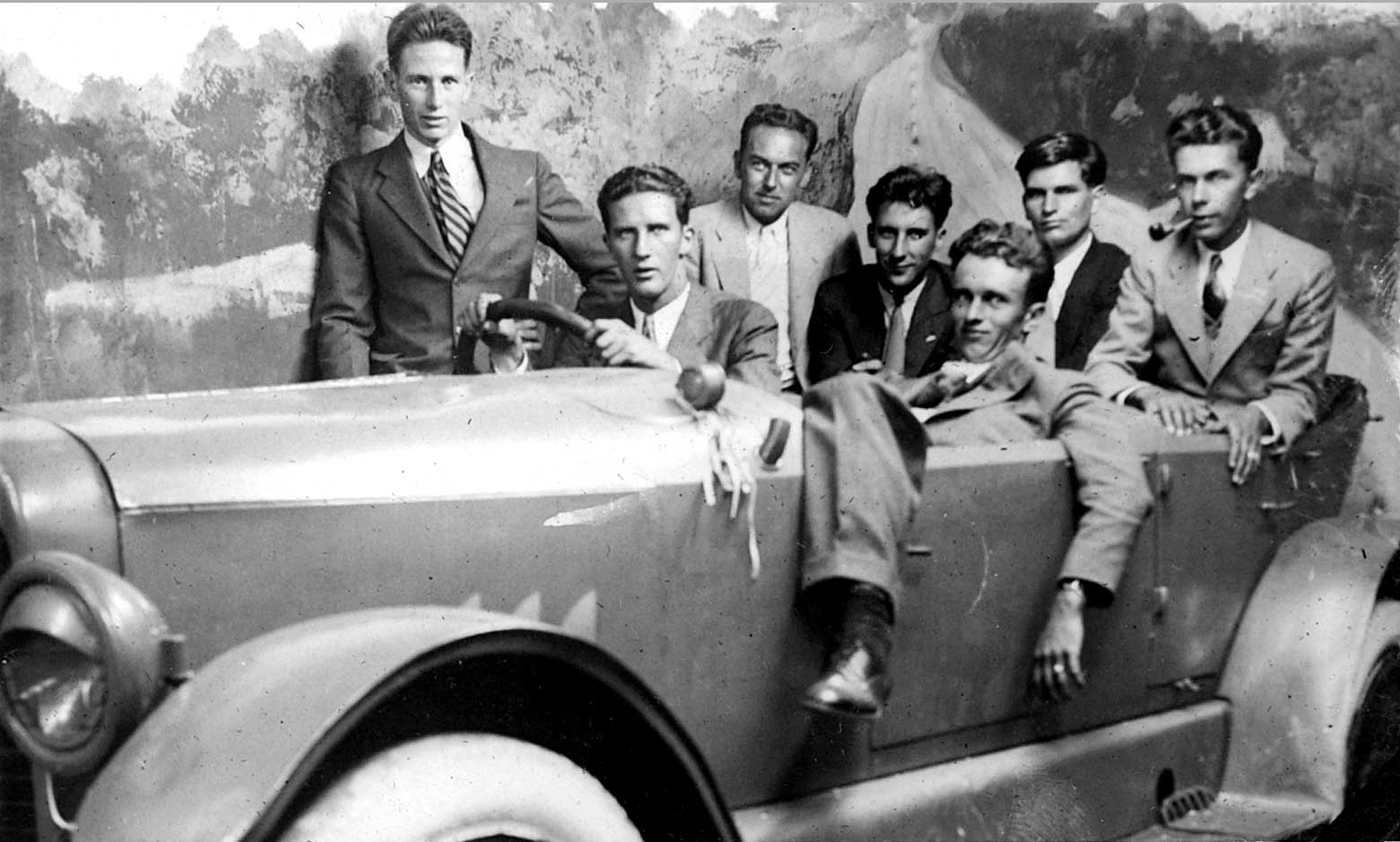 Friends at Coney Island. Bud Smith, Bill Warden at the wheel, Charles Geissler, Ian Warden, and Arthur Austin. Next to Art, Bub Toaspern, in front of Bub, Royden Toaspern. Photo courtesy of MBA.