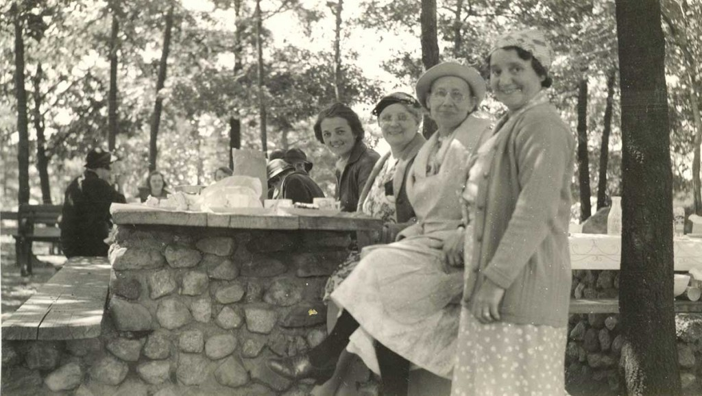 Church picnic at High Point, 1939. Mrs. Winter is second from the right. The others are unknown. Aida often met Mrs. Winter who was very active in the town. When Mrs. Stege was alive, Mrs. Winter stayed with her and worked in the music business. Photo courtesy CSM.