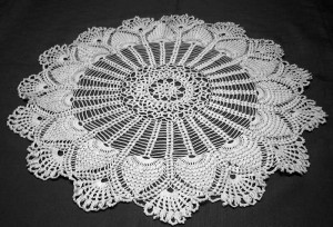 Doily that Ella crocheted, courtesy of CLB.