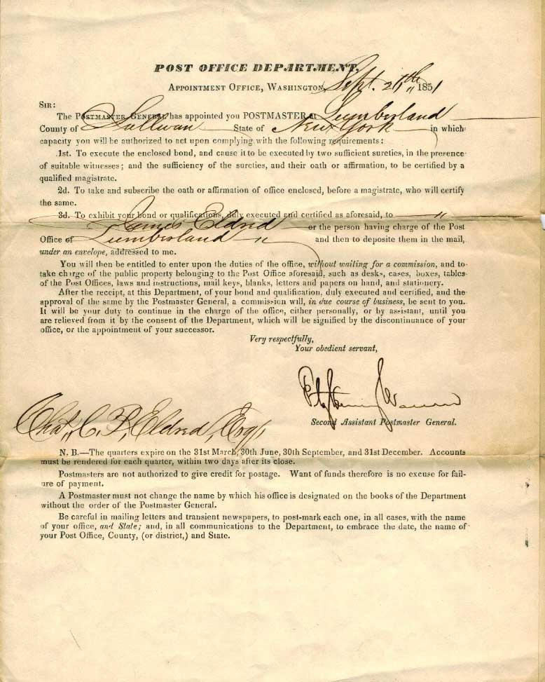 Document appointing C.C.P Eldred as Postmaster, courtesy of T. Eldred.