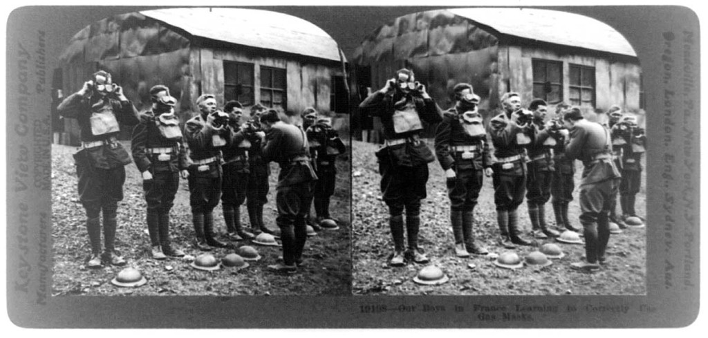 Our boys in France learning to correctly use gas masks. Photo: Library of Congress: Keystone View Company, LC-USZ62-92733.
