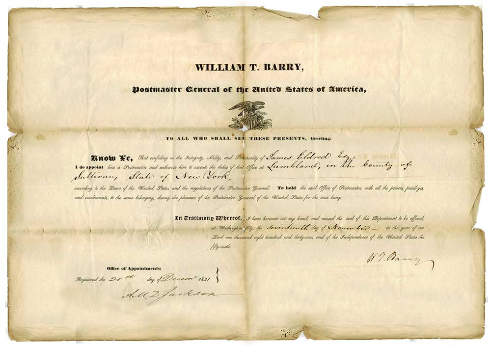 1831 Certificate for James Eldred to execute the duties of the Post Office at Lumber land.
