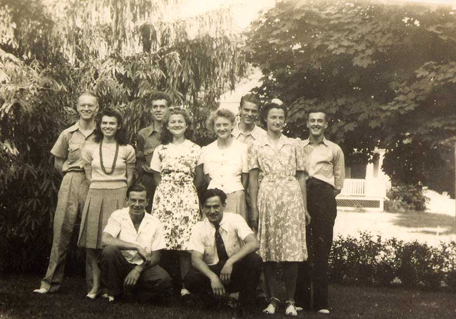 Back row: Chuck Myers, John Briggs, Tom Myers, Russel; Ladies: Ruth Worzel Myers, Reta Kalin, Mary Briggs, Kate Strenglein; in front Harry Haas on right.