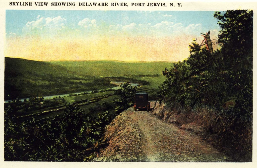 Old Postcard showing view of Delaware River from Port Jervis, New York.