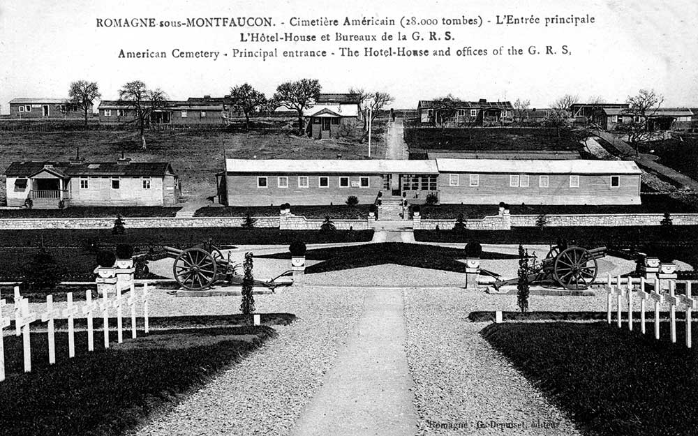 Romagne-sous-Montfaucon, American Cemetery, principal entrance, the Hotel-House and offices. 1923 postcard in Aida Austin Collection.