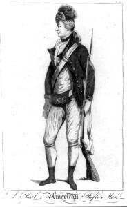 British version of an American rifleman wearing a military uniform. Illus. in: An impartial history of the war in America, between Great Britain and her colonies, from its commencement to the end of the year 1779… London & Carlisle: Printed for R. Faulder, 1780, v. 1, p. 212. The American Revolution in drawings and prints; a checklist of 1765-1790. Library of Congress Rare Book and Special Collections Division: 3a45452.
