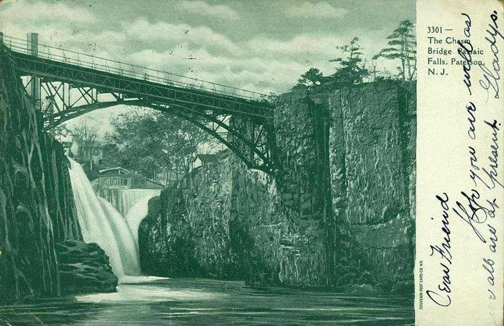 Passaic Falls, Passiac, NJ postcard in Austin Collection.