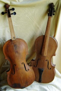 Two of the violins Garfield made. Photo courtesy of Cynthia.