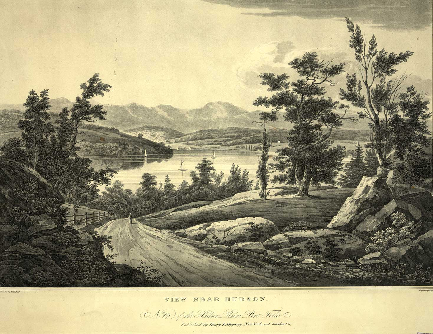 View Near the Hudson River # 12of the Hudson River Port Folio published by Henry I. Megarey, New York. Engraved by J. Mill. Painted by W.G. Wall. LOC: 03823.