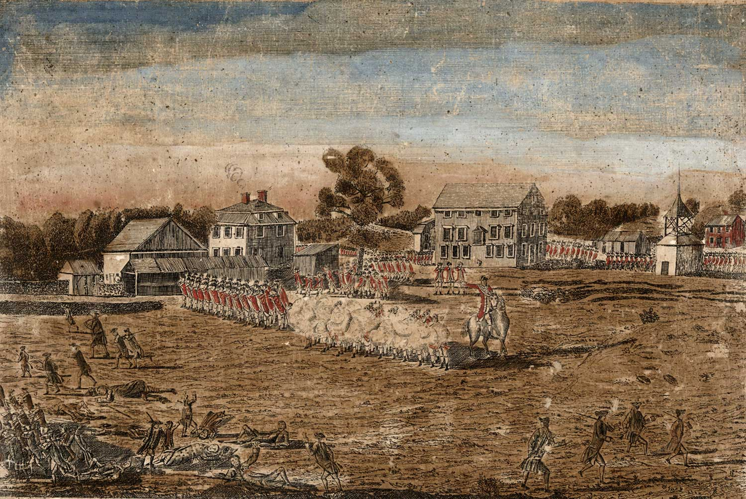 Amos Doolittle, The Battles of Lexington and Concord: Plate I, The Battle of Lexington, April 19, 1775.