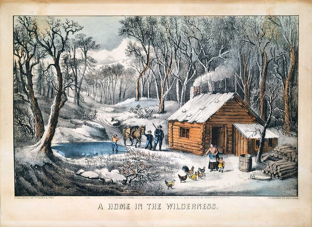 A Home in the Wilderness. Colored lithograph; Currier & Ives, 1870. Bequest of Adele S. Colgate, 1962. Accession Number: 63.550.204. Public Domain.