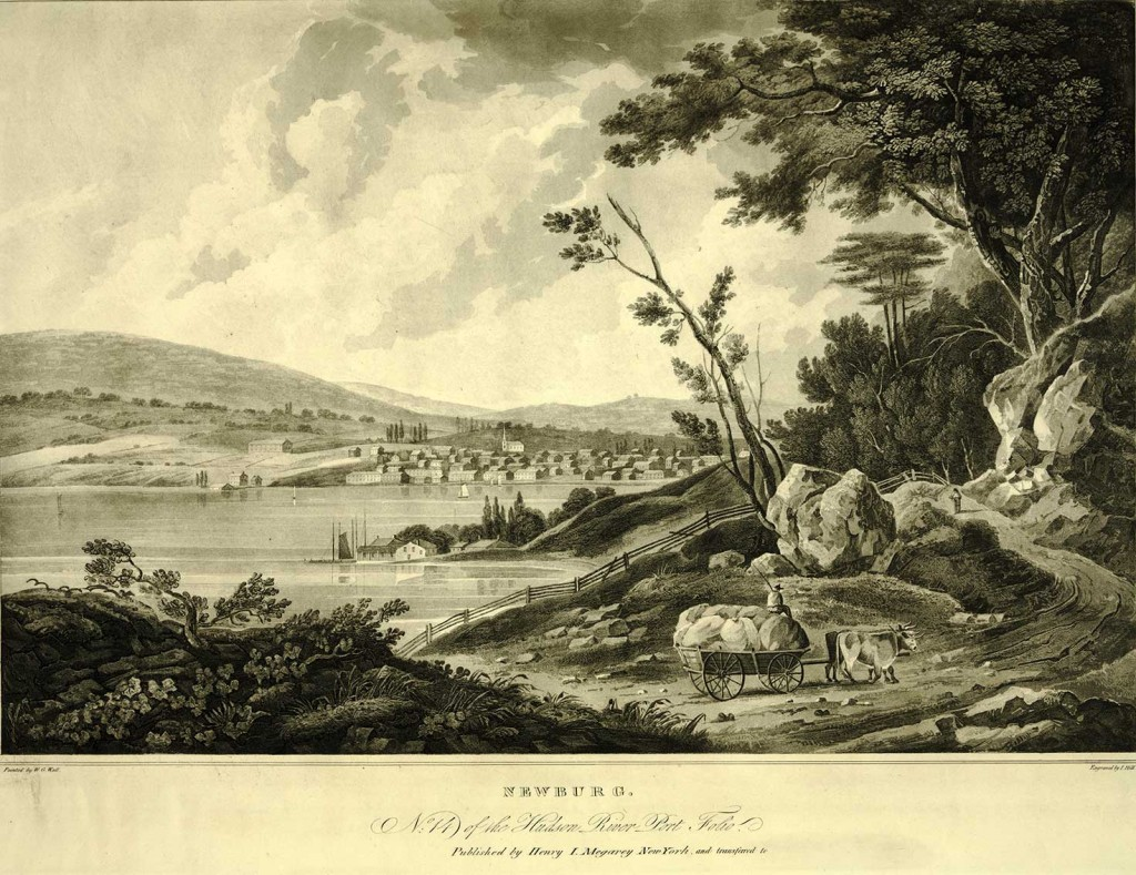 Newburg No. 14 of the Hudson River Port Folio published by Henry I. Megarey, New York. Engraved by J. Mill. Painted by W.G. Wall.  LOC: Prints and Photographs Division 0381.