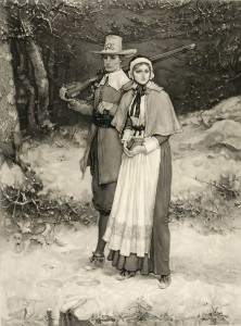 Mezzotint of a Puritan husband and wife walking through snow on their way to Meeting. He carries a rifle, she a Bible. Engraver: Thomas Gold Appleton; Artist: George Henry Boughton; 1884, c1885 March 31. Library of Congress Prints and Photographs Division: 00038.
