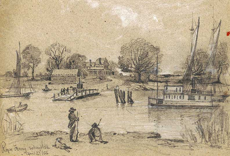 Rope ferry on Schuylkill River near Philadelphia, Pennsylvania. Artist: James Fuller Queen, 1856. LOC: 2016648663.