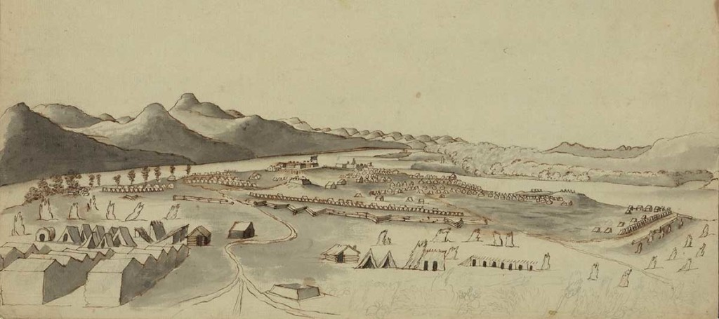 A south view of Crown Point drawn by Thomas Davies, 1760. Library of Congress Prints and Photographs Division : 22540.