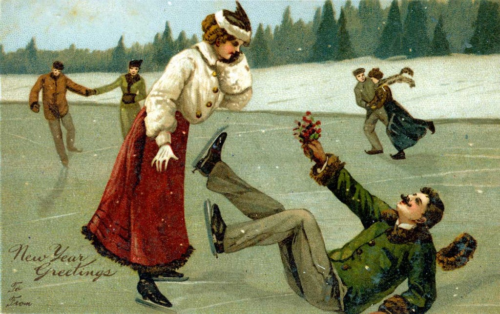 Ice Skating into the New Year. Old postcard in Austin Collection.