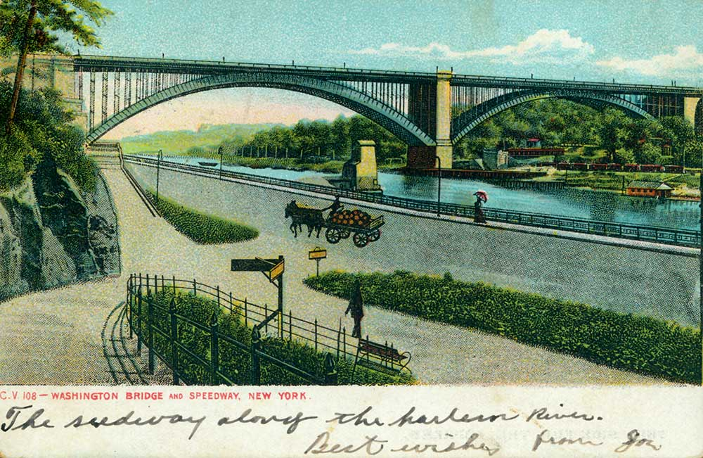 Washington Bridge and Speedway, New York. Early 1900s postcard in the Austin Collection.