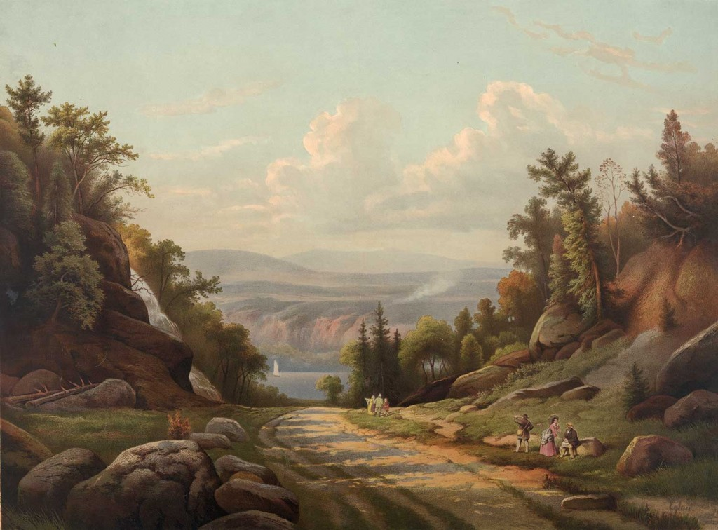 Sunday afternoon on the West Point Road. Travelers resting on a dirt road through a mountainous region with a distant view of a river or lake. Artist: Eglau; Pub.: Kaufman, 1873; Library of Congress Prints and Photographs Division; chromolithograph; LC-DIG-pga-01727.